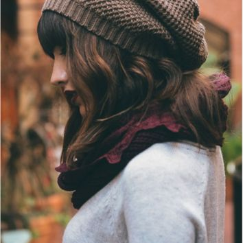 Waffle Knit Slouch Beanie - 4 Colors