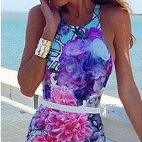 Floral Print Backless Vest Dress