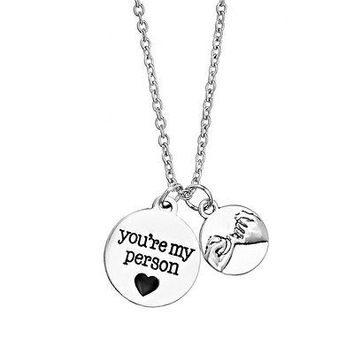 You're My Person Pinky Promise Charms Friendship Family Love Pendant Necklace HU