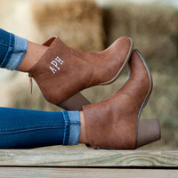 CUSTOM Monogram Brown Ashlyn Boots -- Makes a Great gift and perfect for fall!!!