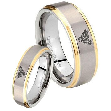 Bride and Groom Phoenix Step Edges Gold 2 Tone Tungsten Carbide Mens Ring Set