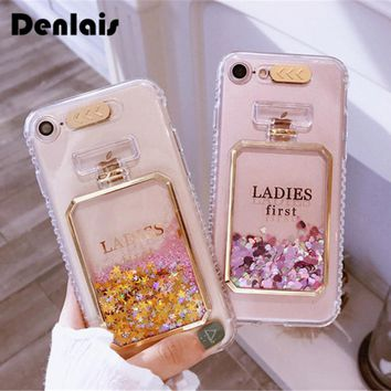 Fashion Perfume Bottle Quicksand Dynamic Liquid Glitter Coque Clear Soft Phone Cases Cover For iPhone 7 7Plus 5 5s 6 6s 6Plus