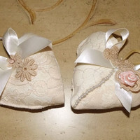 Handmade Victorian Heart Christmas Ornaments Set of 2