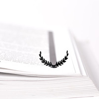 Bookmark Wreath laser cut metal powder coated black Stylish unique gift for book lover Free shipping.
