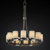 Justice Design Group FSN-8763-10-OPAL-NC Fusion Dakota Twelve-Light Tall Ring Chandelier
