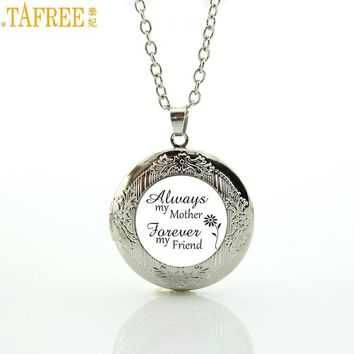 TAFREE Brand my mother Forever my friend mom gifts necklace Love Mum jewelry handmade women locket pendant charms MOM96