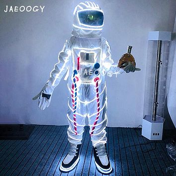 Free Shipping LED Luminous Astronaut Space Costume Halloween Stage Performance Fluorescent Light Props Bar Nightclub Supplies