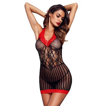 Black Sexy Lace Contrast V Neck Hater Chemise