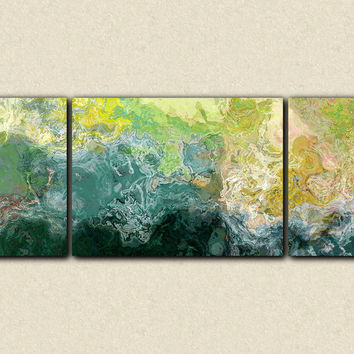 "Oversized triptych abstract art 30x80 to 34x90 canvas print, giclee in blue, green and yellow, ""Sea Coast"""