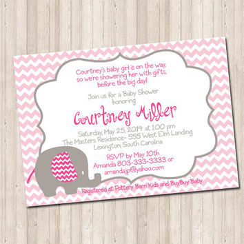Custom Baby Shower Elephant Invitation- chevron pink & gray
