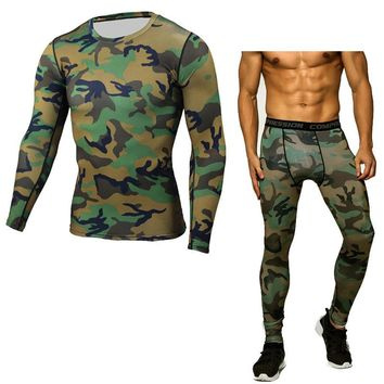 compression shirt tactical MMA rashgard union suit 2017 Men's Long Sleeve T-Shirt + tights for men Set 2 piece tracksuit men