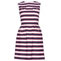 STRIPED WOOL AND SILK-BLEND MINI DRESS