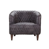 Magdelan Tufted Leather Arm Chair Antique Ebony
