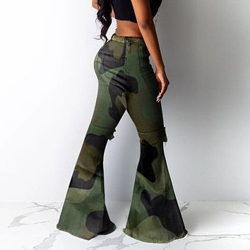 Camouflage Flare Jean For Women Winter Wide Leg Pants Plus Size High Waist Denim Bell Bottom Distressed Ripped Pantalones Mujer