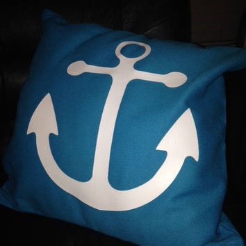 Anchor Pillow Cover in Turquoise