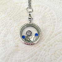 New York yankees inspired large stainless steel memory locket locket with choice of chain