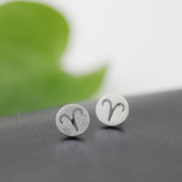 Fashion Simple 925 Sterling Silver 12 constellations Earrings(Aries) ,a perfect gift !