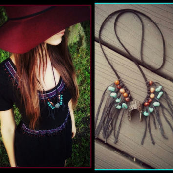 Necklace, feather, headdress, Native, american, style, fringe, fringed, turquoise, beaded, boho, bohemian, gypsy, grunge, jewelry, long
