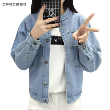 Trendy Stand Long Sleeve Denim Jackets 2018 Spring Loose Cotton Outerwear Pockets Vintage Women Bomber Femme Casual Basic Jacket Coat AT_94_13