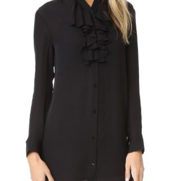 Ruffle Front Shirtdress