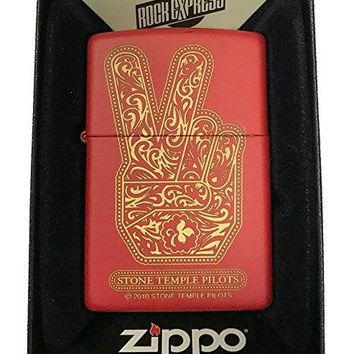 Zippo Custom Lighter - Stone Temple Pilots Paisley Peace Hand - Red Matte