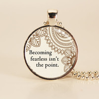 "DIVERGENT ""Becoming Fearless"" Book Quote Charm Necklace"