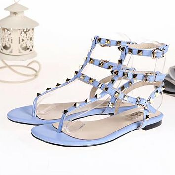 Valentino Classic Summer Popular Women Multicolor Leather Rivet Bandage Flat Sandals Shoe Blue I-ALS-XZ