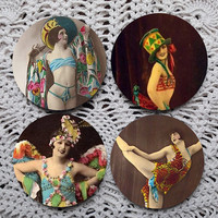 Casino de Paris -- Vintage French Burlesque Mousepad Coaster Set