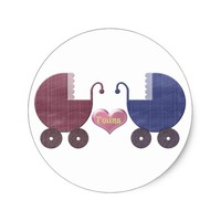 Boy and Girl Baby Twins, Pram Art Design Classic Round Sticker