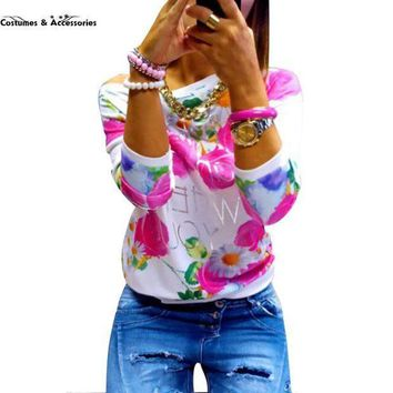 2016 Fashion Autumn Women Girl Long Sleeve Floral Print T Shirts Crew Neck Casual Tops