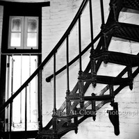 architectural - staircase - fine art photo - 8 x 10 black and white spiral staircase and window - bricks and iron