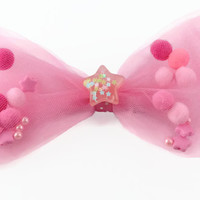 Super Cute Fairy Kei Pom Pom Jelly Filled Hair Bow in Pink with Star Confetti Charm
