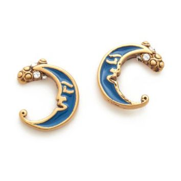 Enamel Moon Stud Earrings