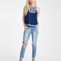 Embroidered Woven Tank With Flyaway Back | Wet Seal