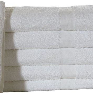 NEW WHITE (22X44 incehs) 100% COTTON ECONOMY HAIR & BATH TOWELS  6Lb/Dozen