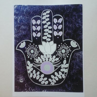 Hippie Bohemian evil eye hamsa hand 8.5 x 11 inch art print for baby nursery, dorm room, or home decor