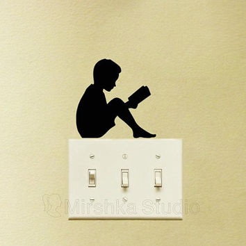 Boy Silhouette Light Switch Fabric Wall Decor - Boy Reading Wall Sticker - Teen Boys Room Decor - Book Lover Gift - Bookworm Gifts - Boy Art
