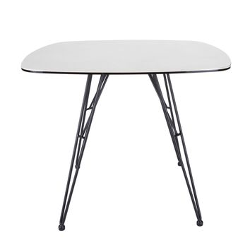 "Alisa 36"" Dining Table with White Ceramic Stone Patterned Glass Top and Black Powder Coated Steel Legs"