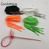 """Coolstring Flat Single Layer With Printing """"SHOELACES""""  Zip Tie For Replacement Off White """"The Ten"""" Handmade For Sneakers Boots"""