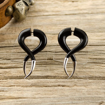 Fake Gauges Black Twist Earrings with Metal Tip Spiral Gothic Tribal Style Buffalo Black Horn Organic - FG075 H ALL