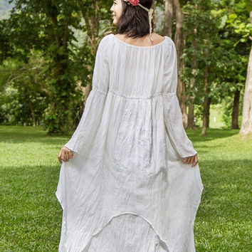 Gypsy Wedding Dress -White Bohemian Dress, White Boho Dress, Long Sleeves Maxi Dress, Bell Sleeve, Hippie Dress, Fairly Clothing, Fantasy
