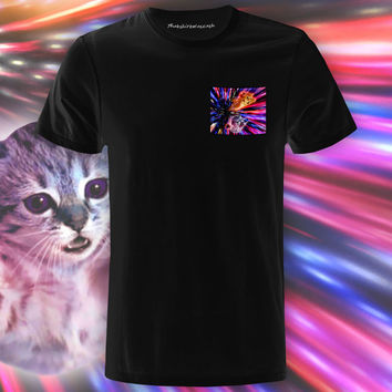 Flying Laser Cat Black Pocket Tee