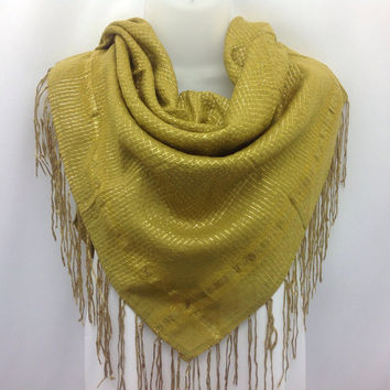 Gold Yellow acrylic square scarf, Retirement gift, Gift for Mom, Boss gift, Winter fashion Fall scarf, Mustard scarf, Holiday Gift