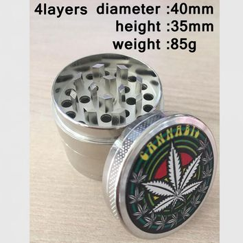 40mm Metal Herb Weed Tobacco Grinder for Smoking Pipe Cigarettes Cigar Hookah Water Pipe Narguile Chicha Smoke Drop Shipping