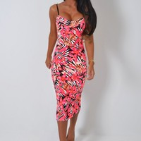 Island Life Neon Pink Tropical Print Midi Dress | Pink Boutique