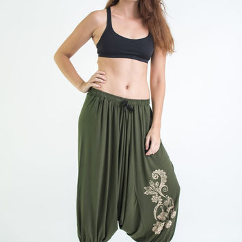 Drawstring Low Cut Harem Pants Cotton Spandex Printed Paisley Flowers Olive