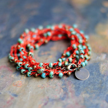 Boho Anklet, Turquoise Wrap Bracelet, Handmade Wrap, Crochet Wrap Bracelet, Convertible Jewelry, Beaded Necklace A019 by Indigo Lunch