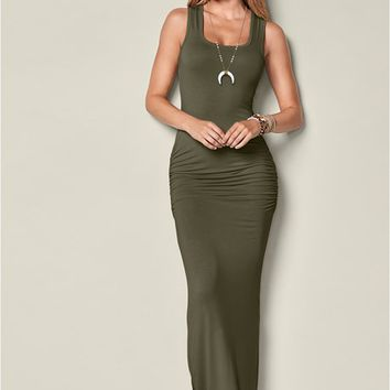 Ruched Tank Maxi Dress in Olive | VENUS