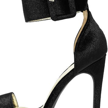 Love and Luck Black Velvet Ankle Strap Heels