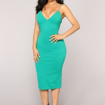 Dynamic Brights Midi Dress - Kelly Green